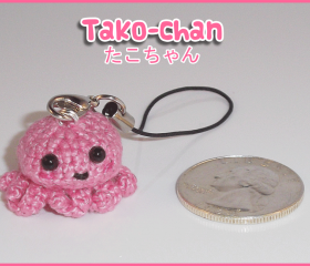 Kawaii Tako-chan Amigurumi (Cute Crocheted Octopus) Cell Charm